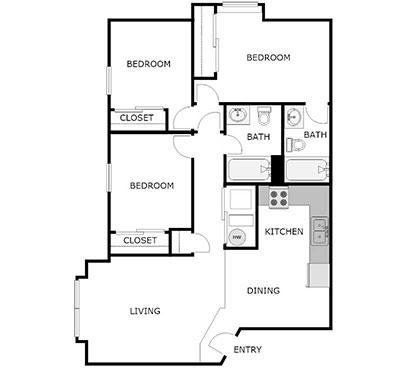 3 Bed, 2 Bath floorplan
